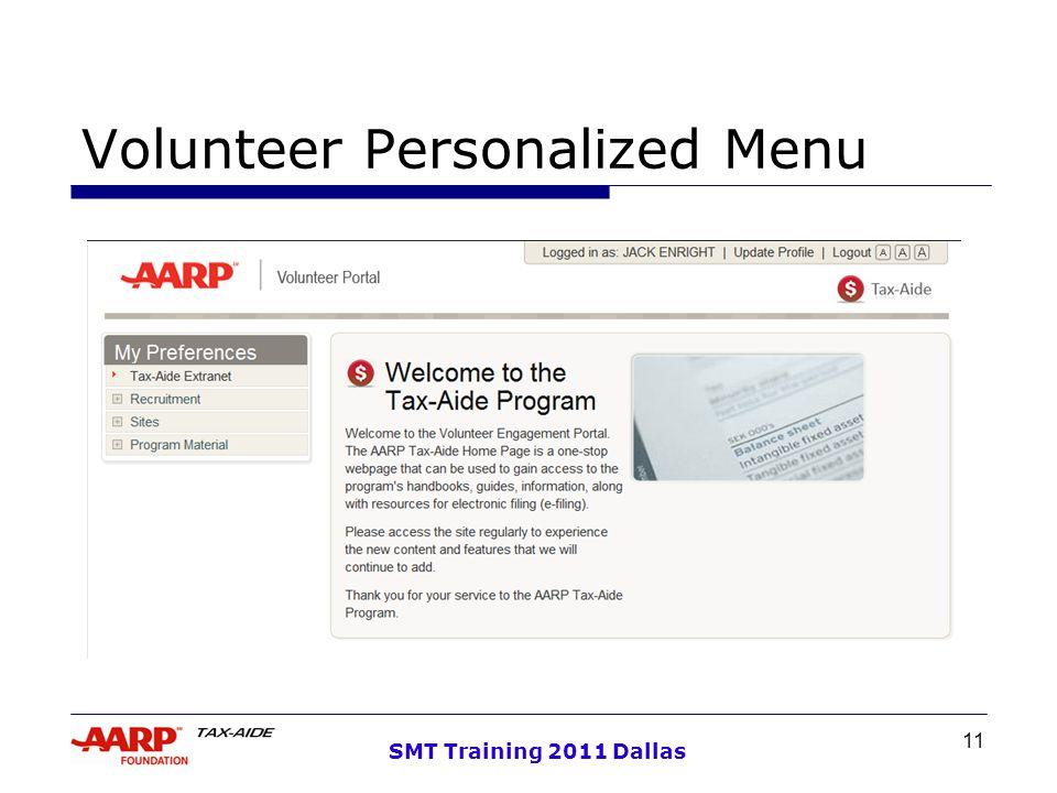 11 SMT Training 2011 Dallas Volunteer Personalized Menu