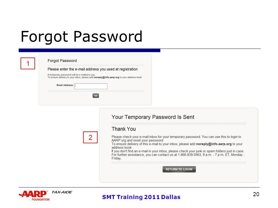20 SMT Training 2011 Dallas Forgot Password 1 2