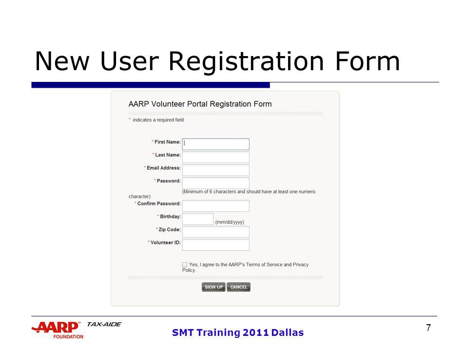 7 SMT Training 2011 Dallas New User Registration Form