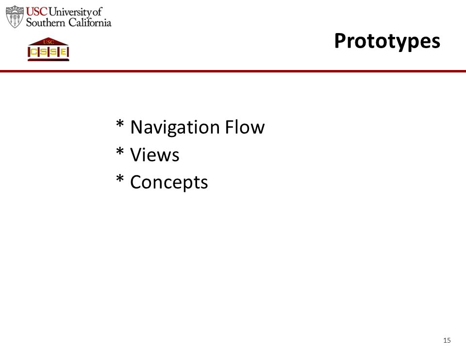15 Prototypes * Navigation Flow * Views * Concepts
