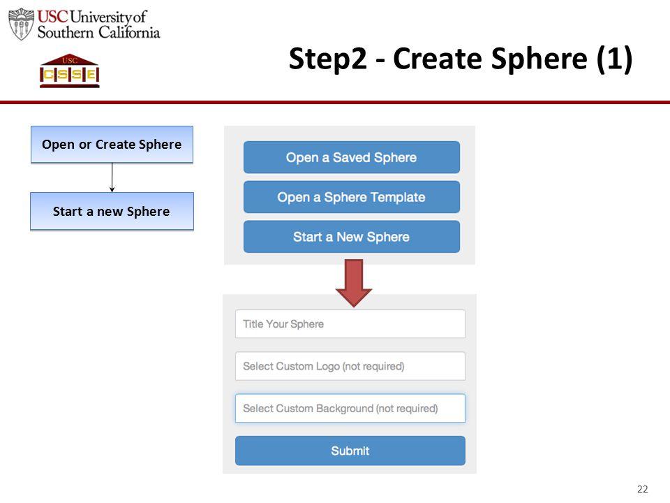 22 Step2 - Create Sphere (1) Open or Create Sphere Start a new Sphere