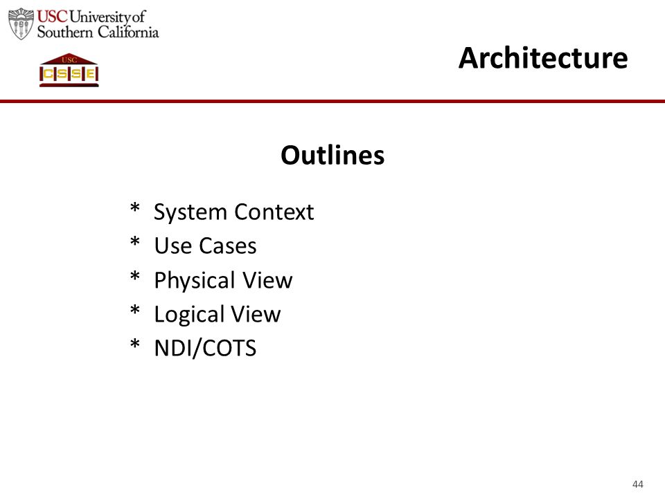 44 Architecture Outlines * System Context * Use Cases * Physical View * Logical View * NDI/COTS