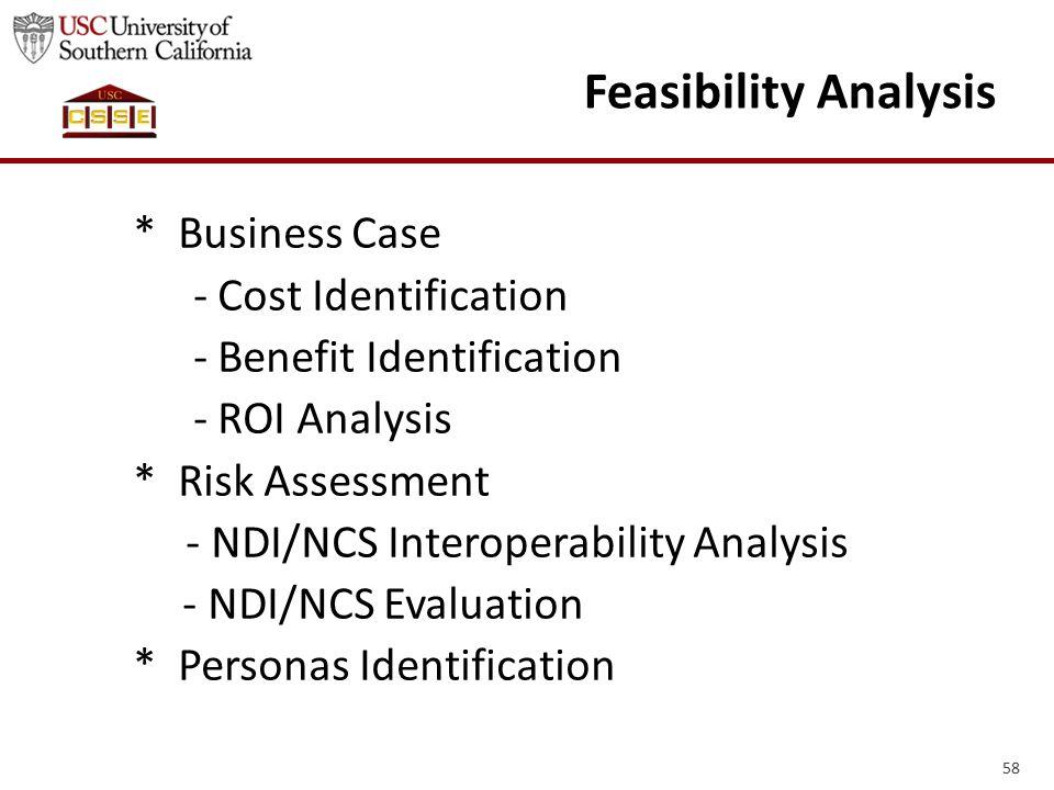 58 Feasibility Analysis * Business Case - Cost Identification - Benefit Identification - ROI Analysis * Risk Assessment - NDI/NCS Interoperability Analysis - NDI/NCS Evaluation * Personas Identification