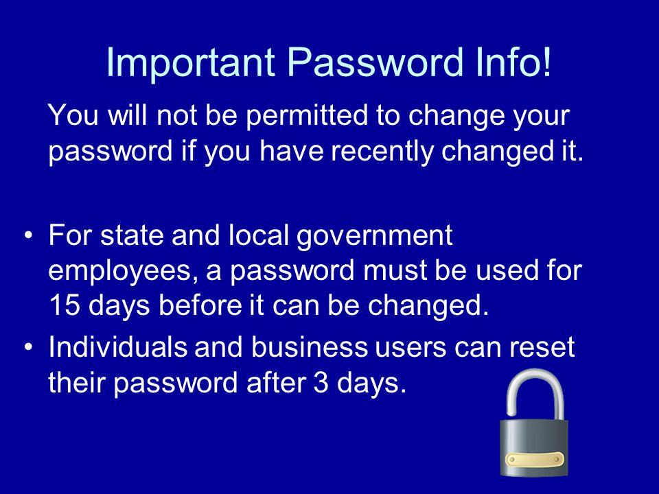 Important Password Info.