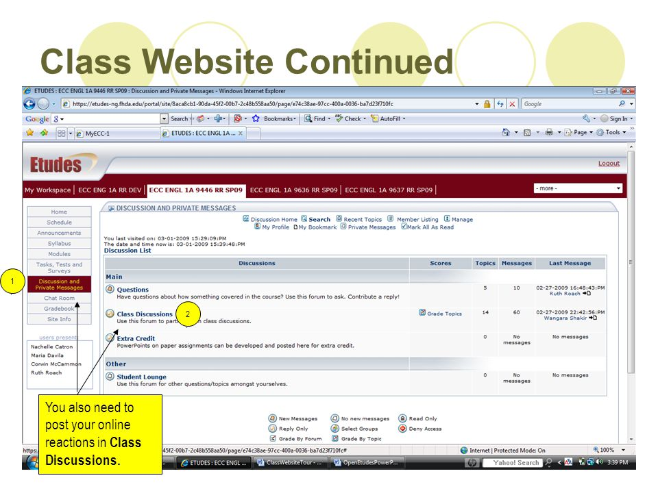 Class Website Continued You also need to post your online reactions in Class Discussions. 1.1. 2.2.