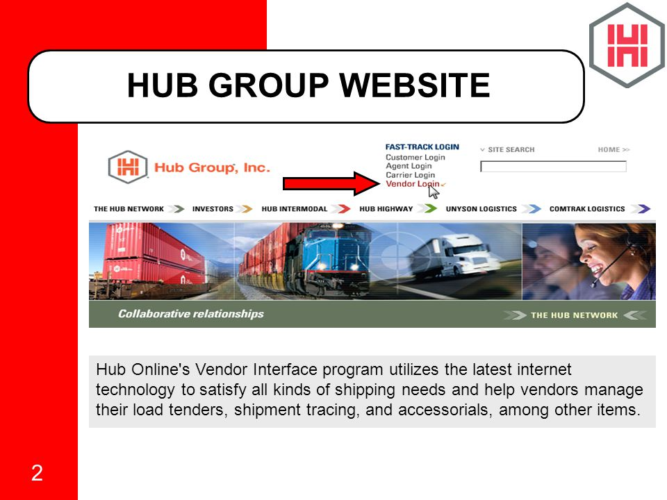 2 Hub Online s Vendor Interface program utilizes the latest internet technology to satisfy all kinds of shipping needs and help vendors manage their load tenders, shipment tracing, and accessorials, among other items.