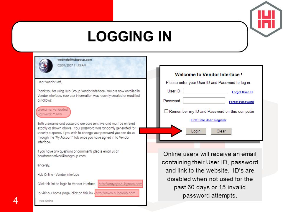4 LOGGING IN Online users will receive an email containing their User ID, password and link to the website.