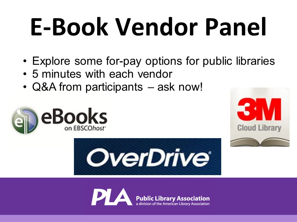 E-Book Vendor Panel Explore some for-pay options for public libraries 5 minutes with each vendor Q&A from participants – ask now!