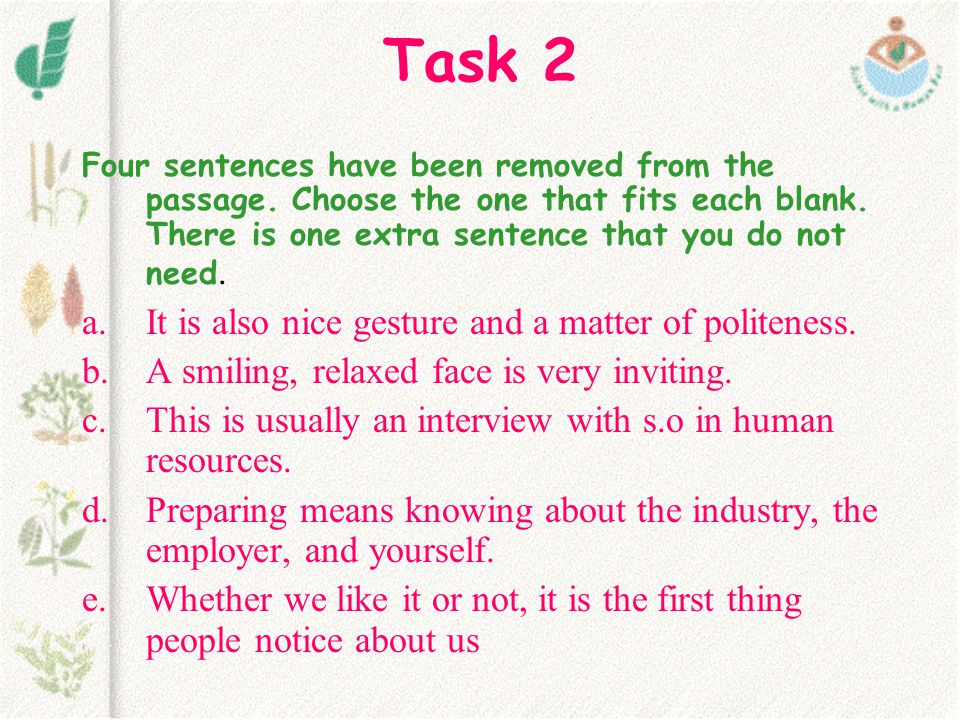 Task 2 Four sentences have been removed from the passage.