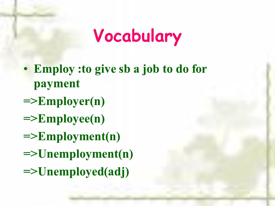 Vocabulary Employ :to give sb a job to do for payment =>Employer(n) =>Employee(n) =>Employment(n) =>Unemployment(n) =>Unemployed(adj)