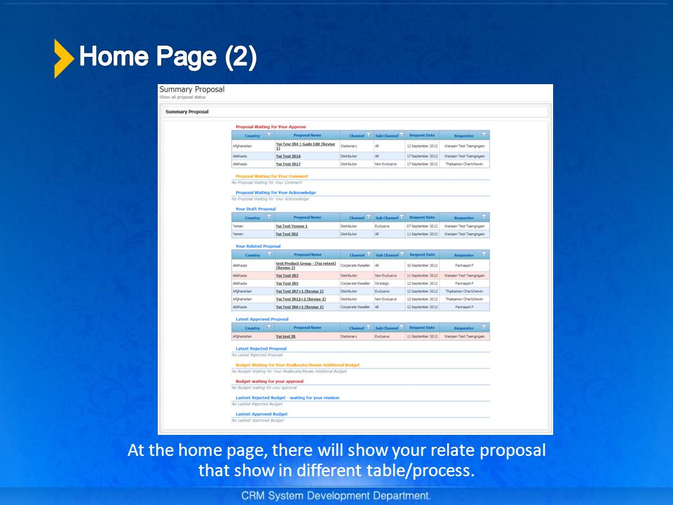 At the home page, there will show your relate proposal that show in different table/process.