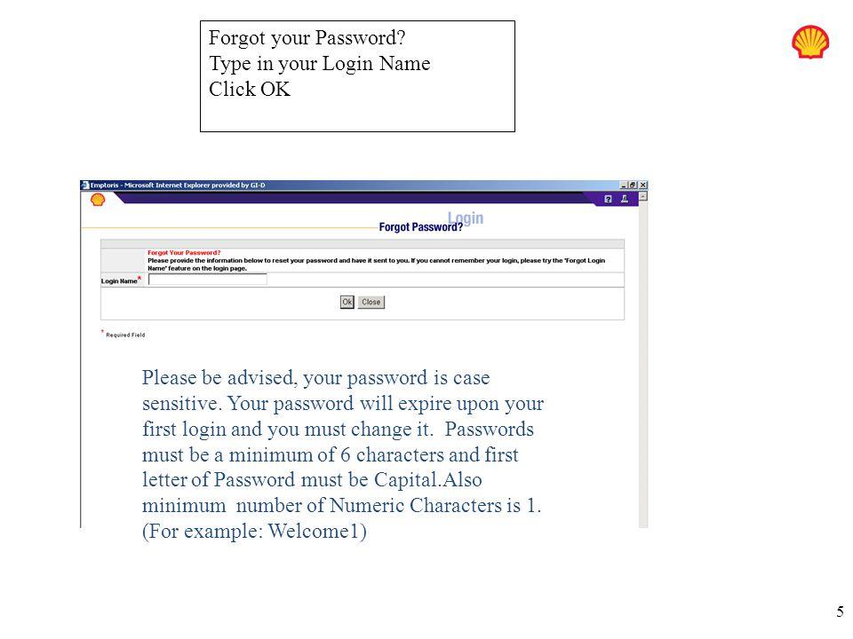 5 Forgot your Password.