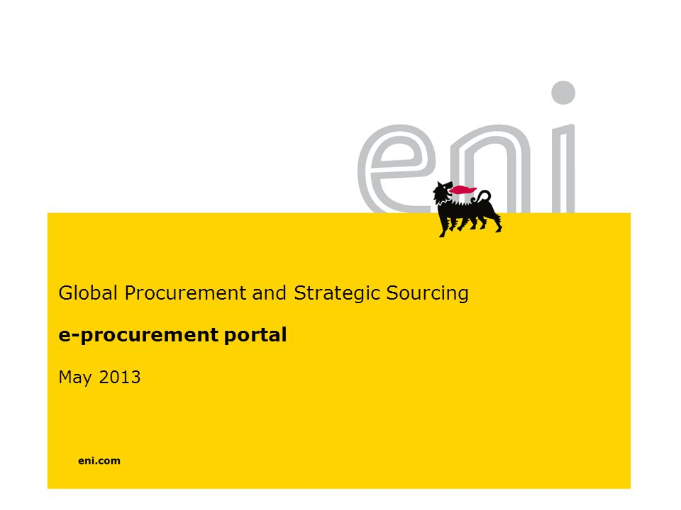 Global Procurement and Strategic Sourcing e-procurement portal May 2013
