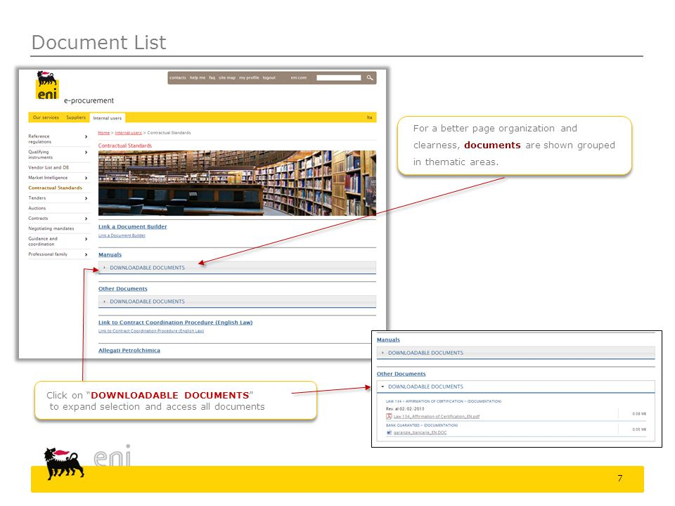 Document List Click on DOWNLOADABLE DOCUMENTS to expand selection and access all documents For a better page organization and clearness, documents are shown grouped in thematic areas.