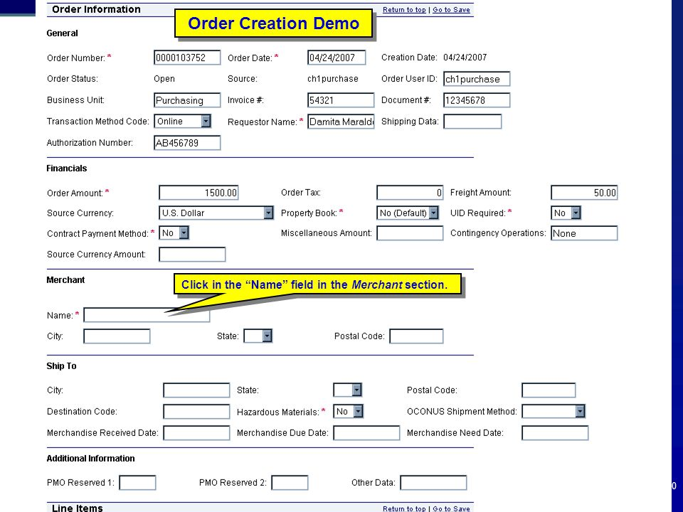 """100 Order Creation Demo Click in the """"Name"""" field in the Merchant section."""