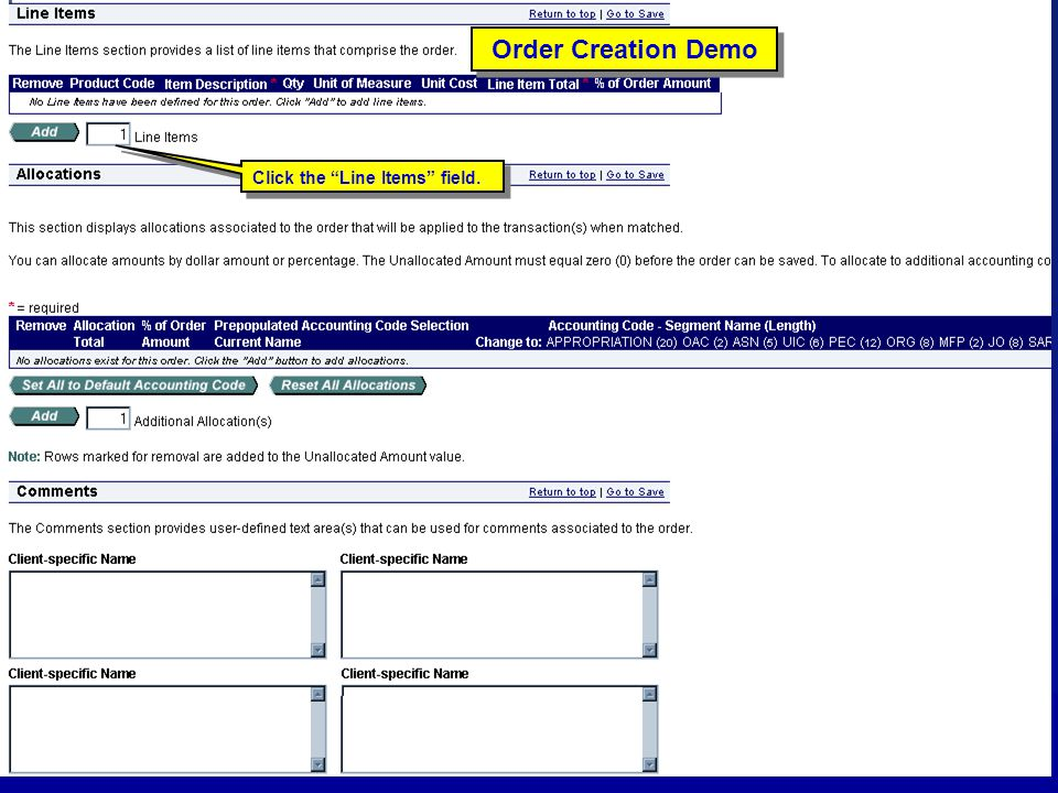 """103 Order Creation Demo Click the """"Line Items"""" field."""