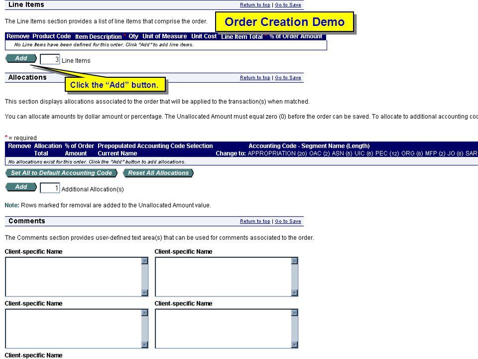 "104 Order Creation Demo Click the ""Add"" button."