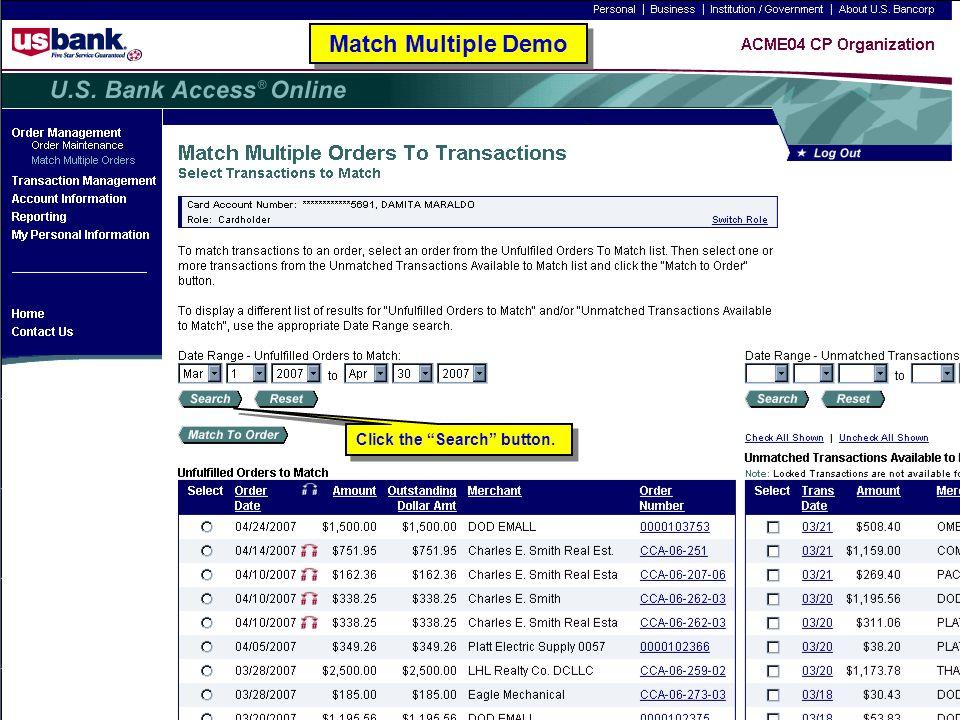 127 Match Multiple Demo Click the Search button.