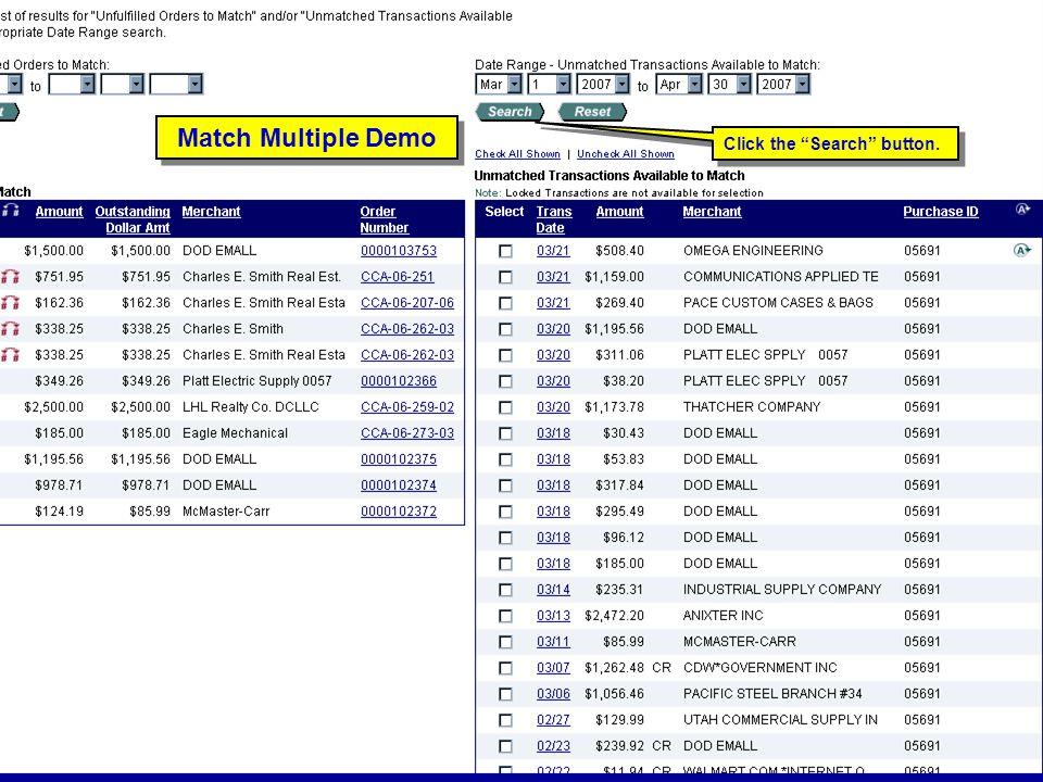 "130 Match Multiple Demo Click the ""Search"" button."