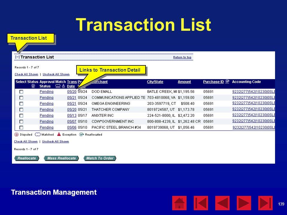139 Transaction List Links to Transaction Detail Transaction Management