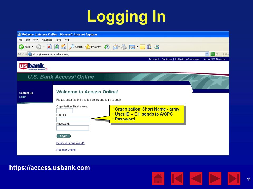 14 Logging In https://access.usbank.com Organization Short Name - army User ID – CH sends to A/OPC Password Organization Short Name - army User ID – CH sends to A/OPC Password