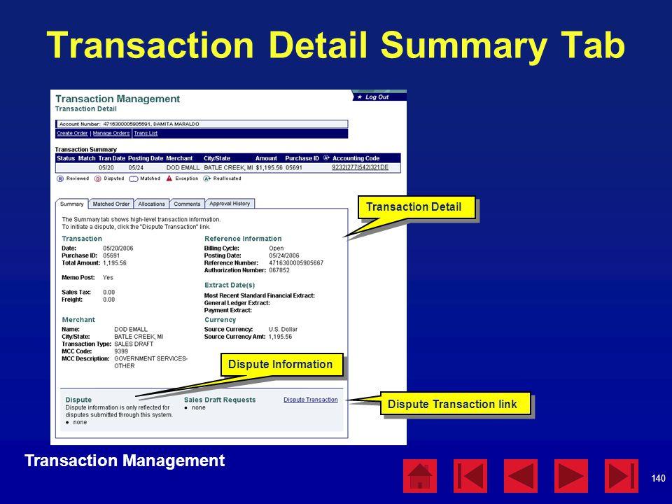 140 Transaction Detail Summary Tab Transaction Detail Transaction Management Dispute Information Dispute Transaction link
