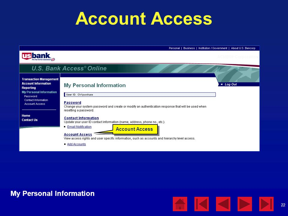 22 Account Access My Personal Information Account Access
