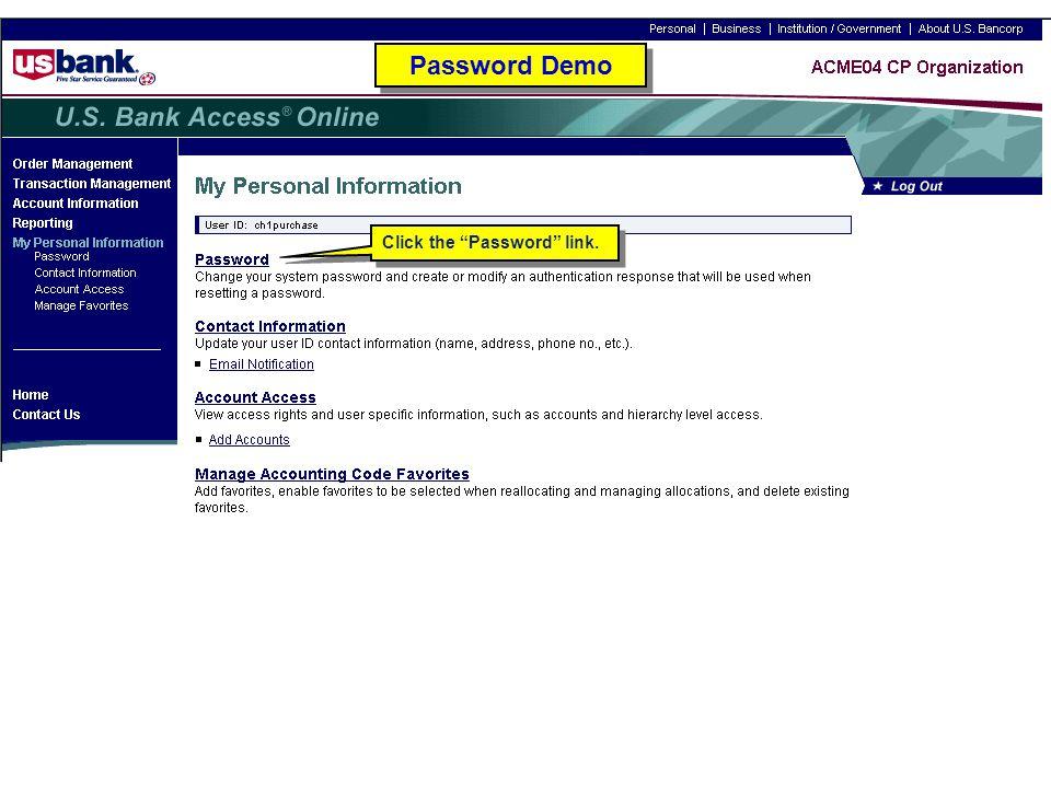 """Click the """"Password"""" link. Password Demo"""