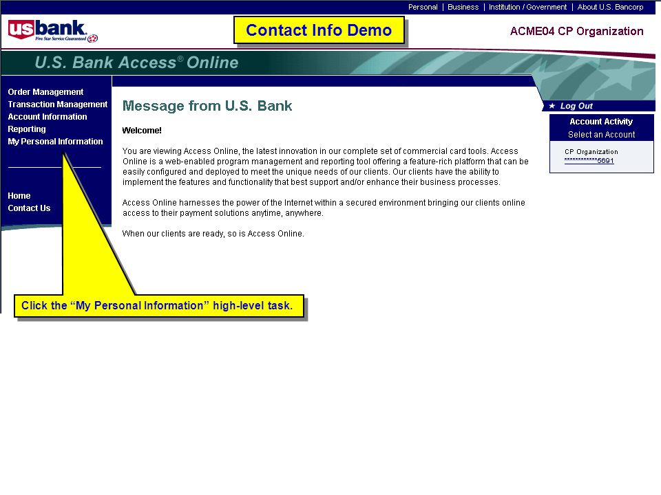 """Click the """"My Personal Information"""" high-level task. Contact Info Demo"""