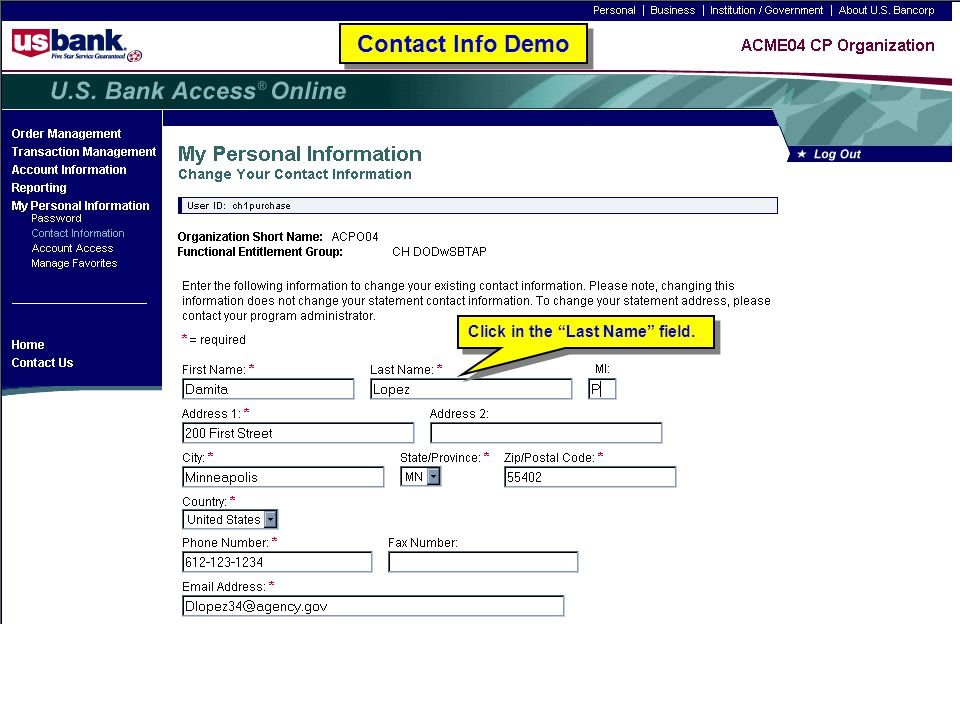 """Click in the """"Last Name"""" field. Contact Info Demo"""