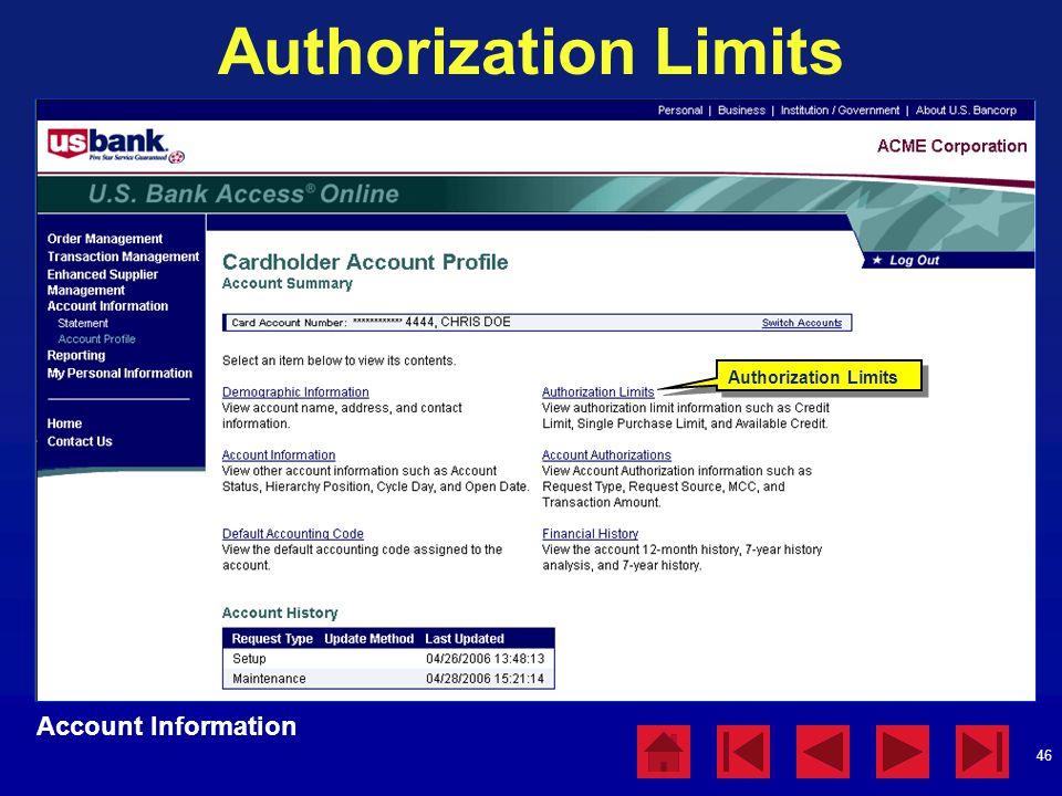 46 Authorization Limits Account Information Authorization Limits
