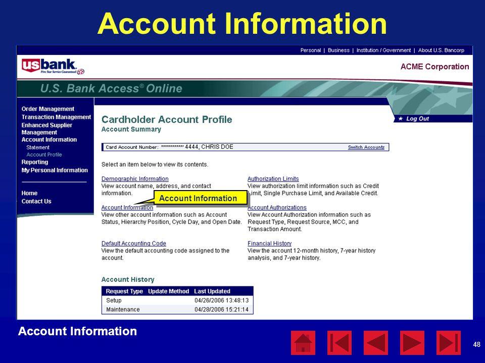 48 Account Information