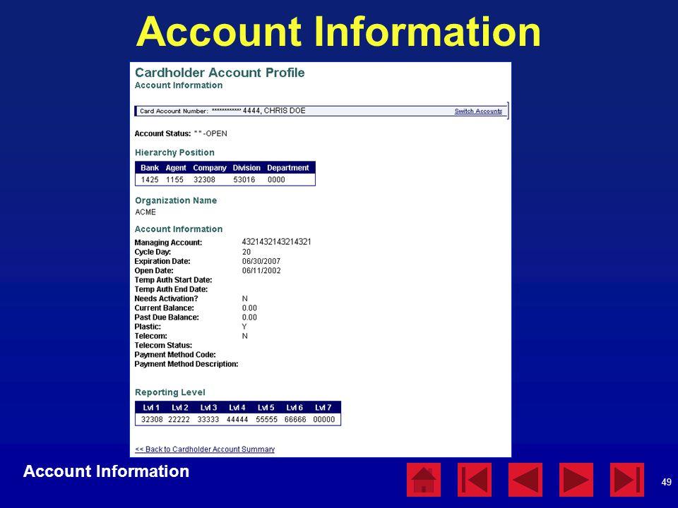 49 Account Information