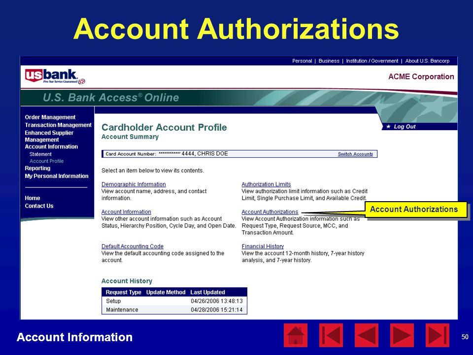 50 Account Authorizations Account Information Account Authorizations
