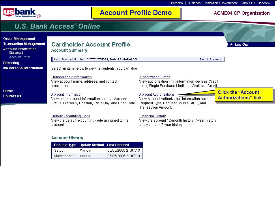 """Click the """"Account Authorizations"""" link. Account Profile Demo"""