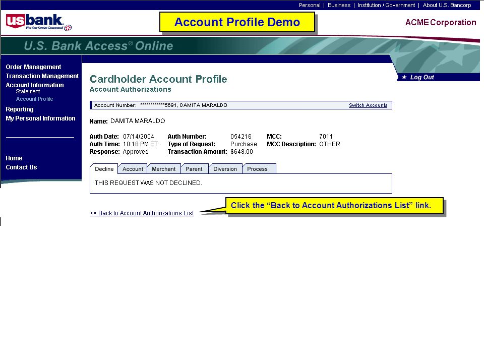 """Click the """"Back to Account Authorizations List"""" link. Account Profile Demo"""