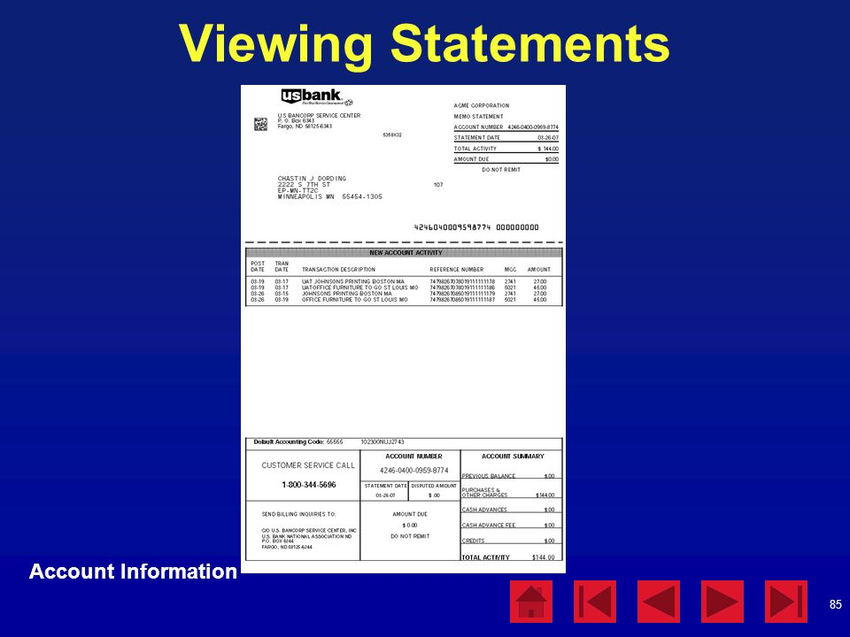 85 Viewing Statements Account Information