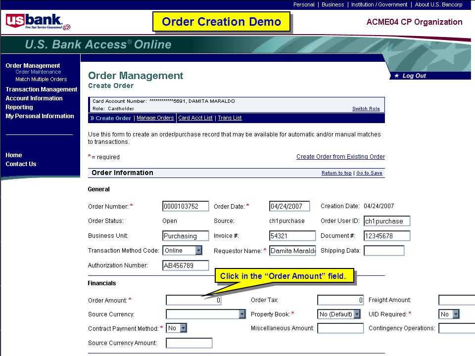 """97 Order Creation Demo Click in the """"Order Amount"""" field."""