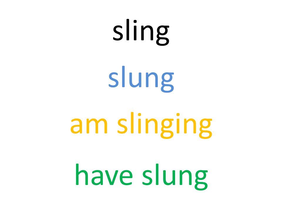 sling slung am slinging have slung