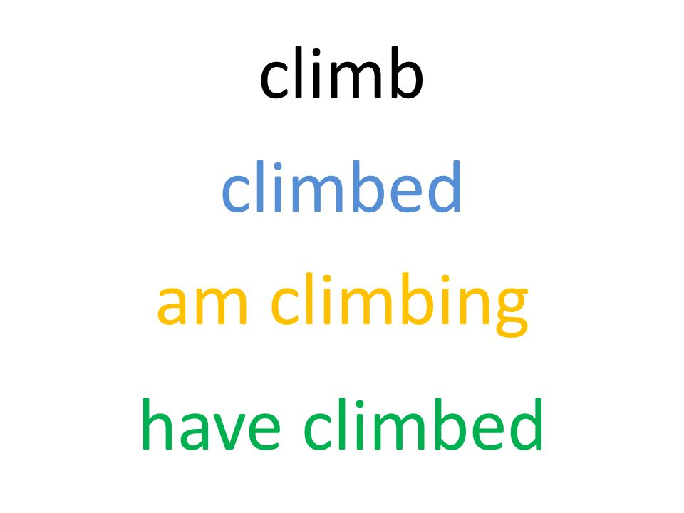climb climbed am climbing have climbed