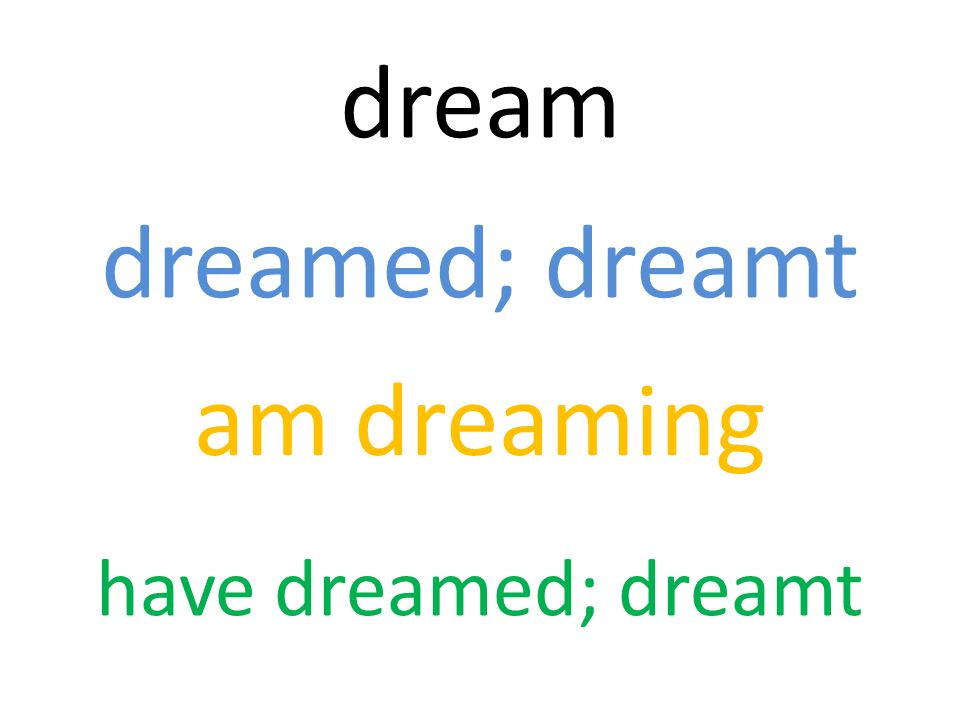 dream dreamed; dreamt am dreaming have dreamed; dreamt