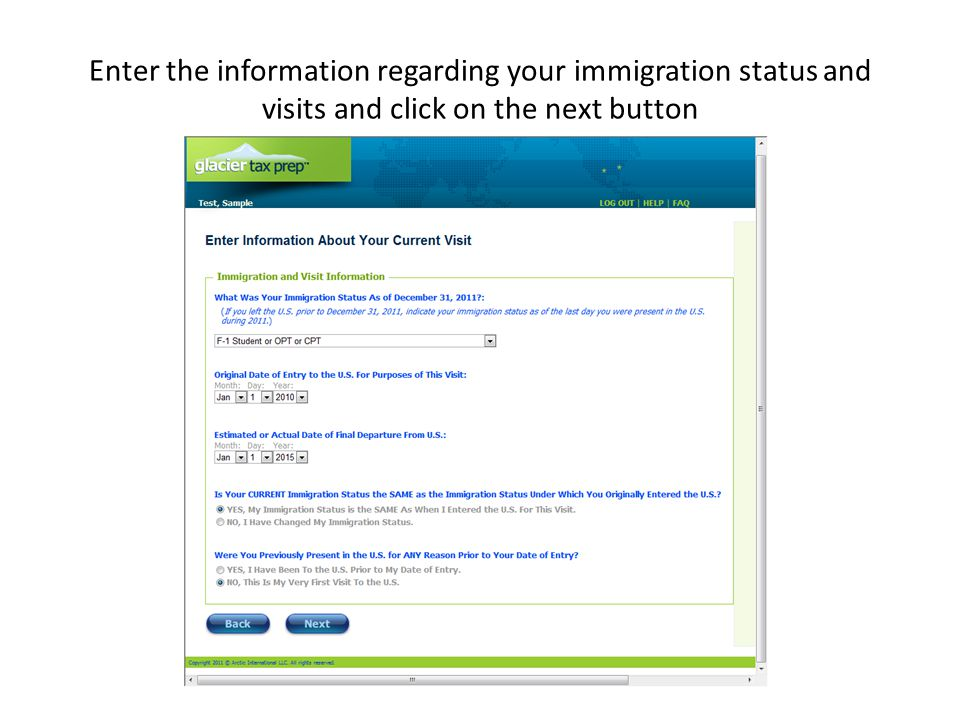 Enter the information regarding your immigration status and visits and click on the next button