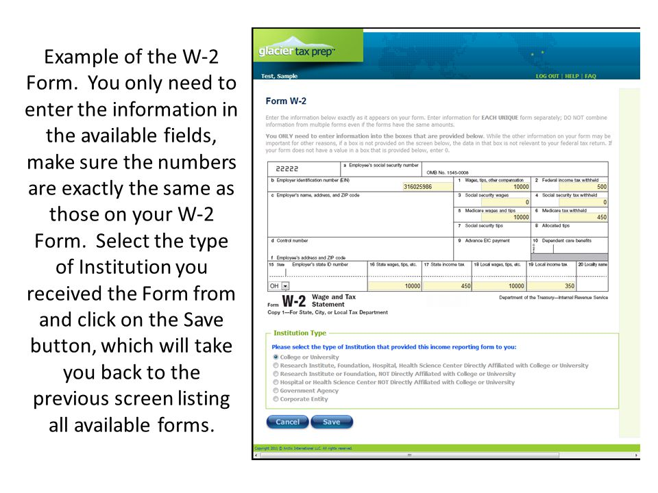Example of the W-2 Form.