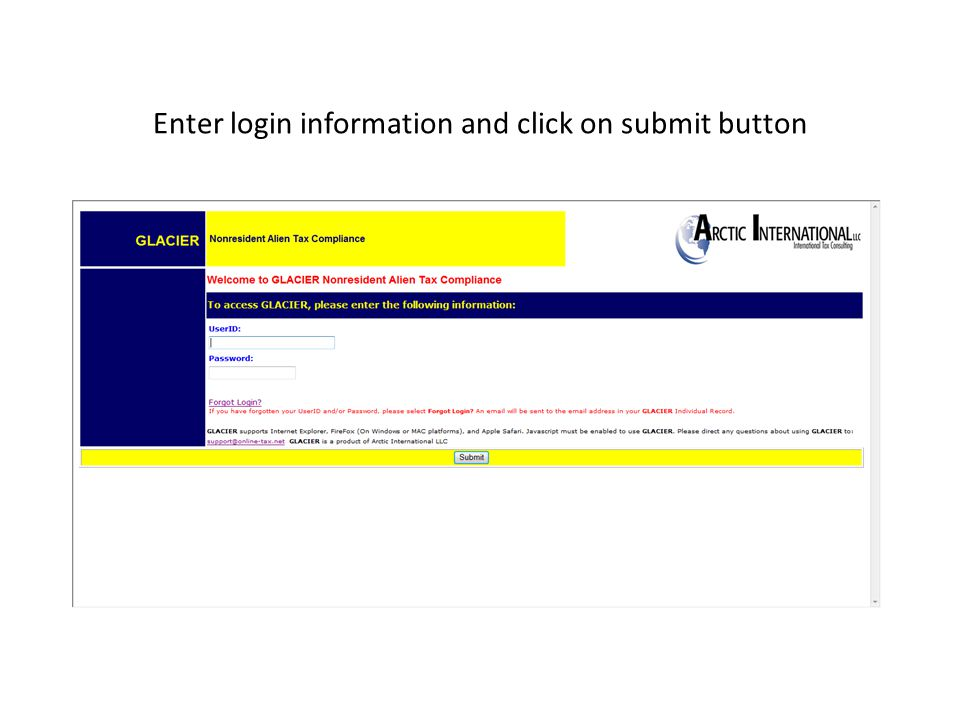 Enter login information and click on submit button