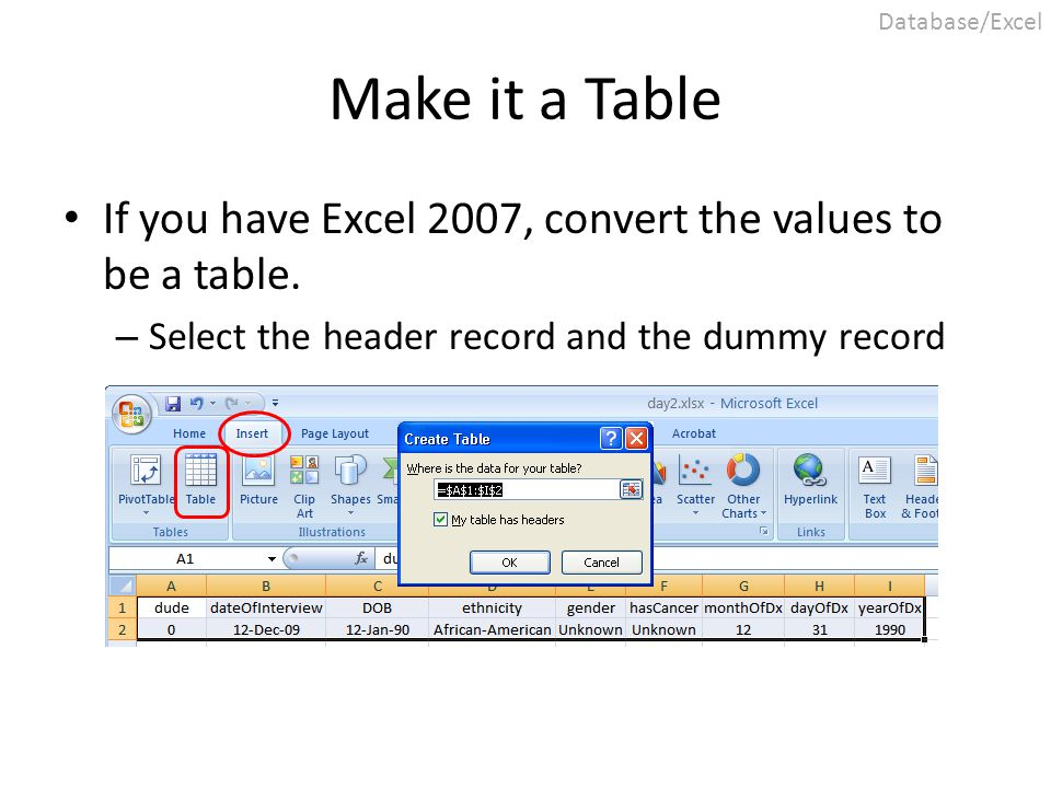 Make it a Table If you have Excel 2007, convert the values to be a table. – Select the header record and the dummy record Database/Excel