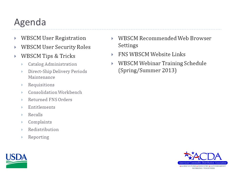 WBSCM User Security Roles