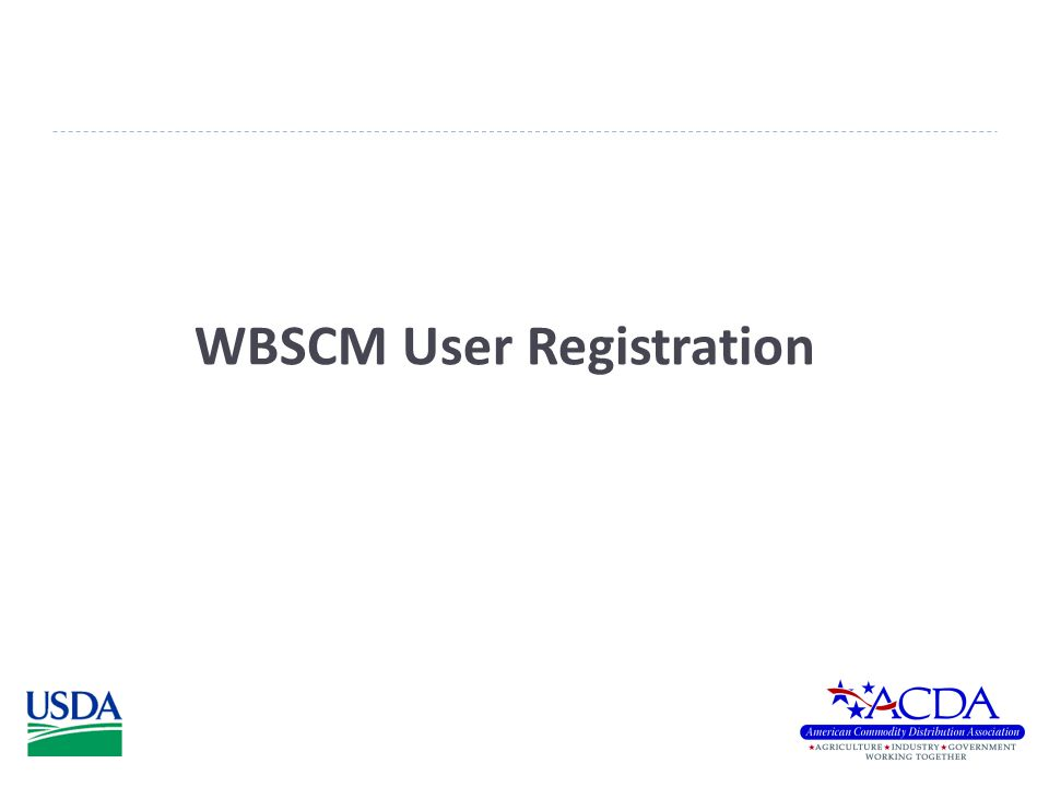 WBSCM User Registration