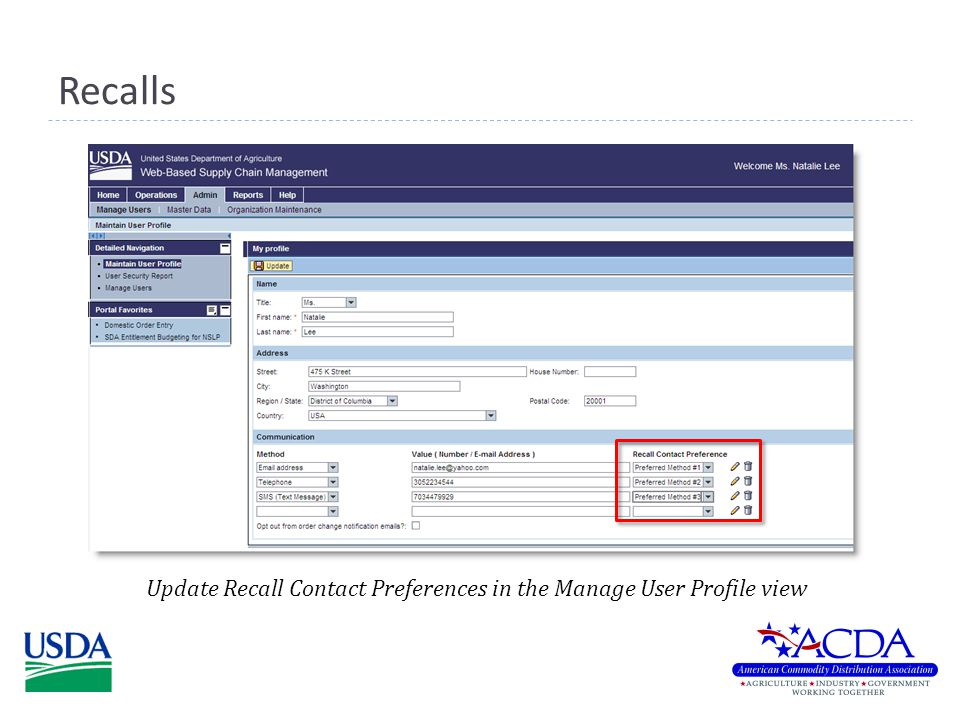 Recalls Update Recall Contact Preferences in the Manage User Profile view