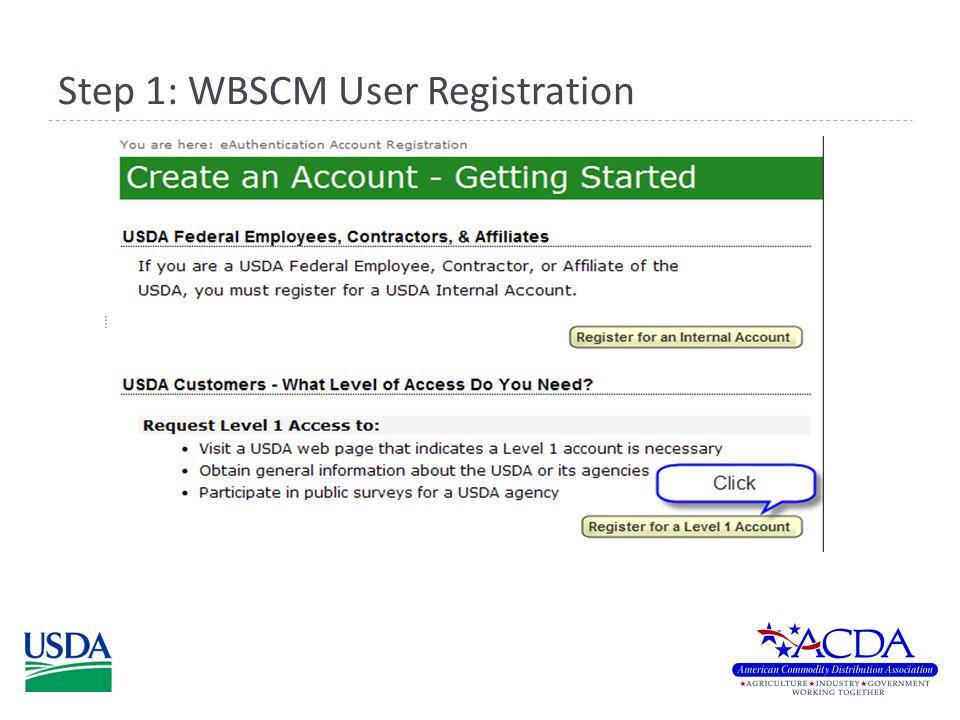 Step 1: WBSCM User Registration