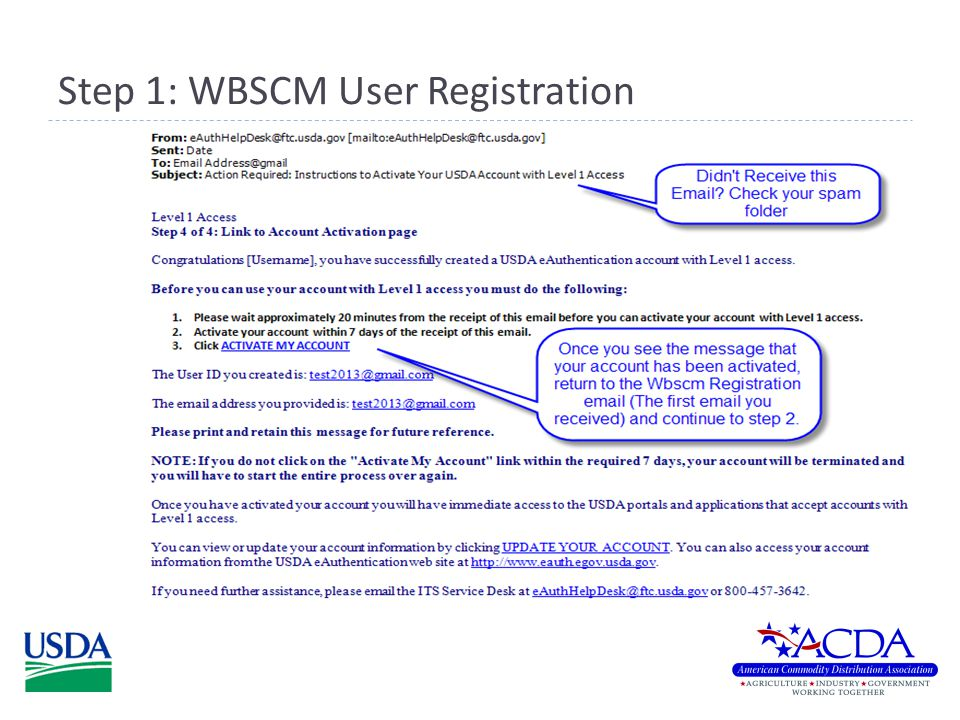 Step 2: WBSCM User Registration  Continue by clicking the link in step 2.